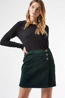 Dorothy Perkins Emerald Cord Wrap Skirt