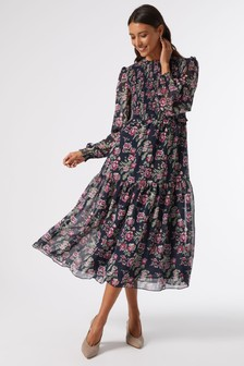 Dorothy Perkins Floral Print Shirred Body Midi Dress