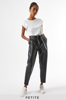 Dorothy Perkins Petite Belted PU Trousers