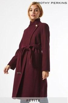 Dorothy Perkins Petite Funnel Neck Belted Coat