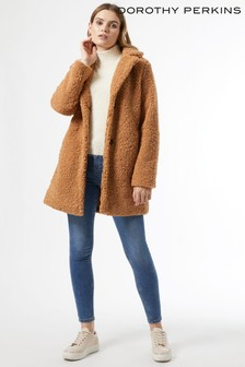 Dorothy Perkins Fudge Long Line Teddy Coat