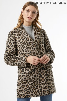 Dorothy Perkins Animal Double Breasted Coat