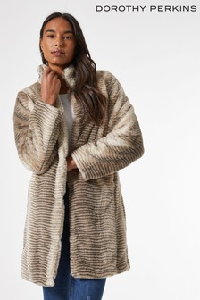 Dorothy Perkins Funnal Collar Faux  Fur Coat