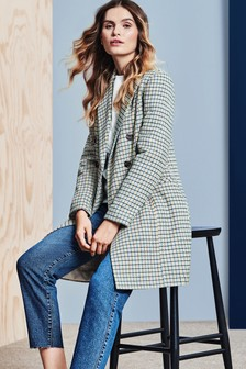 Dorothy Perkins Check Double Breasted Crombie Coat