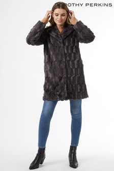 Dorothy Perkins Long Line Squiggle Faux Fur Coat