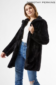 Dorothy Perkins Long Line Pelted Faux Fur Coat
