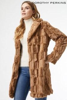 Dorothy Perkins Long Line Squiggle Faux Fur Coat