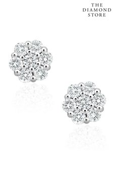 The Diamond Store Lab Diamond Cluster Earrings 0.50ct H/SI Quality set in 9K White Gold