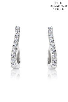 The Diamond Store 0.11ct Hoop Earrings in 9K White Gold 12mm x 2mm