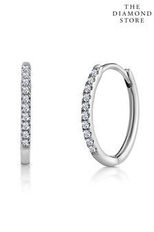 The Diamond Store 0.09ct Stellato Encrusted Hoop Earrings in 9K White Gold 13mm x 1.5mm