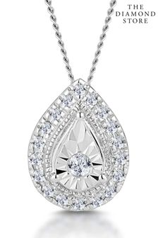 The Diamond Store 0.10ct Masami Pear Halo Necklace Pave Set in 9K White Gold