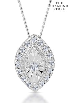 The Diamond Store 0.10ct Masami Marquise Halo Necklace Pave Set in 9K White Gold