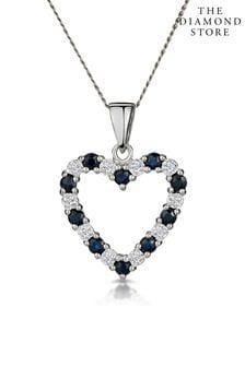 The Diamond Store And Diamond 9K White Gold Heart Pendant Necklace