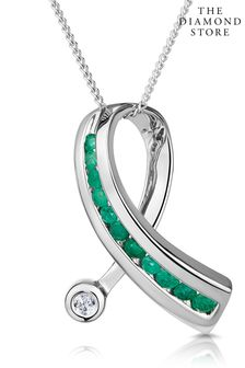 The Diamond Store And Diamond 0.02CT Ribbon Pendant Necklace in 9K White Gold
