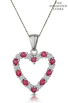 The Diamond Store And Diamond 9K White Gold Heart Pendant Necklace