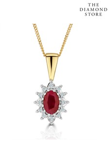 The Diamond Store 6 x 4mm And Diamond Pendant Necklace in 9K Yellow Gold