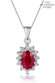 The Diamond Store 1.00CT And Diamond Pendant Necklace in 9K White Gold