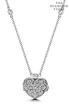 The Diamond Store Tesoro Vintage Lab Diamond and White Topaz Heart Locket Necklace in 925 Silver
