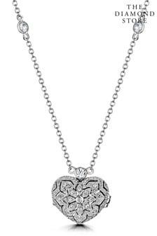 The Diamond Store Tesoro Vintage Lab Diamond and White Topaz Heart Locket Necklace in 925 Silver