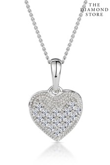 The Diamond Store 0.09ct Heart Pendant Necklace in 9K White Gold