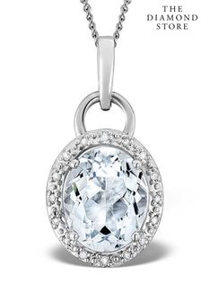 The Diamond Store And Diamond Pendant Necklace in 9K White Gold