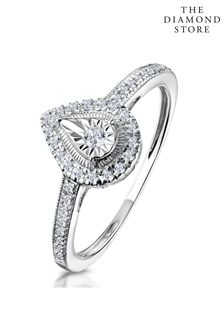 The Diamond Store 0.15ct Masami Pear Shaped Pave Engagement Ring in 9K White Gold