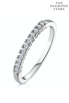 The Diamond Store 0.15CT Half Eternity Ring Claw Set in 9K White Gold