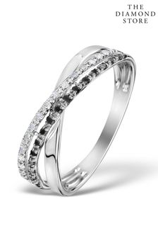 The Diamond Store 0.09ct And Black Diamond Crossover Ring in 9K White Gold