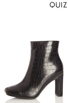 Quiz Faux Croc Sqaure Toe Heel Ankle Boot