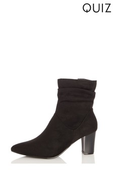 Quiz Faux Suede Rouched Block Heel Ankle Boot
