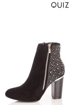 Quiz Faux Suede Studded Ankle Boot