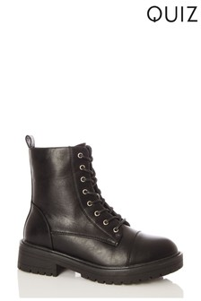 Quiz Faux Leather Lace Up Military Boot