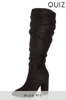 Quiz Faux Suede Rouched Boot