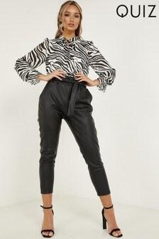 Quiz PU High Waist Tapered Trousers
