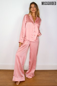 Missguided Satin PJ Set With Piping Detail