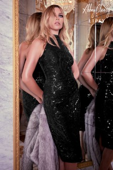 Abbey Clancy x Lipsy Halter Sequin Artwork Midi Dress