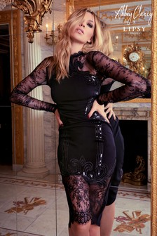 Abbey Clancy x Lipsy Cornelli Sequin Long sleeve Lace Midi Dress
