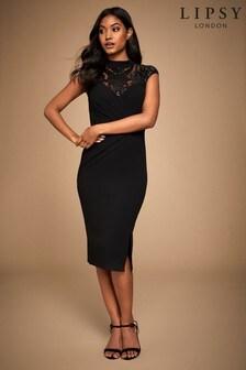 Lipsy Sequin Embellished Yoke Bodycon Dress