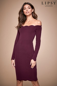 Lipsy Long Sleeve Scallop Bardot Dress