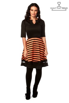 Want That Trend Stripe Mesh Halloween Skater Dress