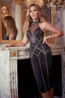 Abbey Clancy x Lipsy Hand Embellished Sequin Halter Midi Dress