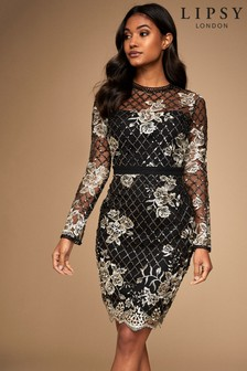 Lipsy Sequin Embroidered Long Sleeve Bodycon Dress
