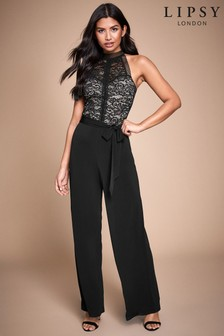 Lipsy Two Tone Lace Halter Jumpsuit