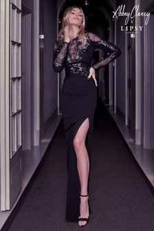 Abbey Clancy x Lipsy Sequin Artwork Lace Longsleeve Maxi Dress