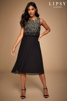 Lipsy Hand Embellished Sequin Pleated Midi Dress