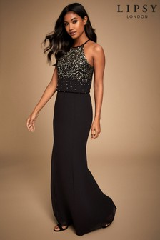 Lipsy Hand Embellished Sequin Scatter Halter Maxi Dress