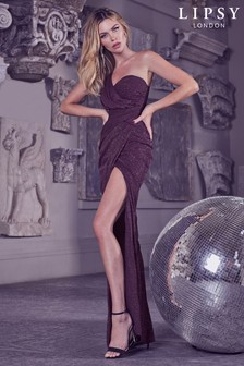Abbey Clancy x Lipsy One Shoulder Glitter Ruched Maxi Dress