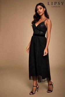 Lipsy Cami Sequin Bodice Pleated Layered Dress