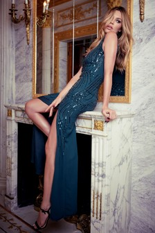 Abbey Clancy x Lipsy Hand Embellished Scatter Sequin Maxi Dress
