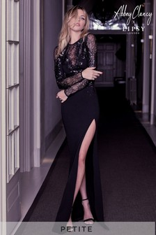 Abbey Clancy x Lipsy Petite Sequin Artwork Lace Longsleeve Maxi